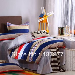 Wholesale Striped Full Flat Sheet - designer striped cotton bedding sets home textile full queen size quilt duvet cover, flat sheet, pillowcases comforter set 4 5pc