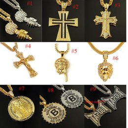Wholesale Crystal Lion Head Necklace - hip hop Jewelry winter style full crystal lion head thick gold plated chain necklace joyas de oro 18k hombre animal colar de lux