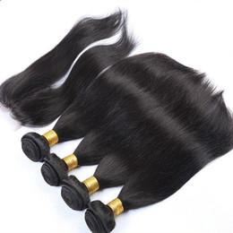 Wholesale 5pcs Peruvian Closure - Peruvian Hair Straight With Closure 5Pcs Lot Grade 9A Unprocessed Human Hair With Closure Middle Parting 4*4 Lace Closure And Bundles