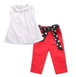 Wholesale Kids Red Vest Top - hot sale girl suit Kids Baby Girls Summer fashion Outfit Net Vest tops & Red Long Bowknot Pants Clothes lace tank top+trousers girl's suits