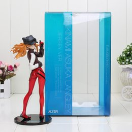 Wholesale Evangelion Toys - 20cm Hot Classic Anime EVA Neon Genesis Evangelion 3.0 Asuka Langley Shikinami Alter Red Jersey Cap PVC Figure Toys