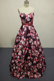 Wholesale Red Patterned Ribbon - ZQ085 2017 New Fashion Floral Flowers Pattern Print Prom Dresses Robe de Soiree Open Back Formal Evening Party Gown