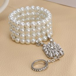 Wholesale Bella White - Wholesale-Bridal jewelry popular Bella Fashion Christmas gift The Great Gatsby Pearl Bridal Bracelet with bangle Set for Women