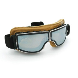 Wholesale Goggle Motorcycle Silver Lens - High quality Brand New Vintage motorcycle goggles Pilot Motorbike Cruiser Goggles Yellow Leather Frame mirror   silver lens