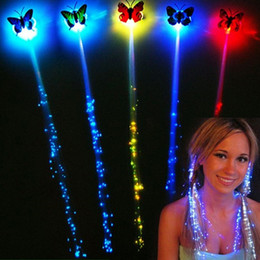 Wholesale Wig Props - LED luminous braided wigs Halloween Decorations party atmosphere cheer props fiber colorful butterfly light hair