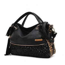 Wholesale tote purses wholesale - Handbags Leopard Sequins Single Shoulder Bag Large Handbag Ladies Messenger Hobo Bag Women PU Leather Handbag Shoulder Bags Tote Purse New