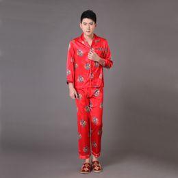 Wholesale Dragon Pajamas - Wholesale-Novelty Red Chinese Style Men's Sleepwear Long Sleeve Pajamas Suit Robe Gown Print Dragon Pyjamas Set S M L XL XXL XXXL MP059
