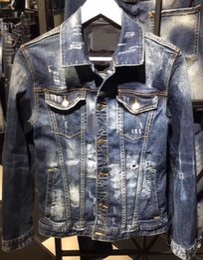 Wholesale Nylon Biker Jacket - 2017 European d2 denim clothing denim coatslapels men biker jeanshole men's Slim washed denim short jacket