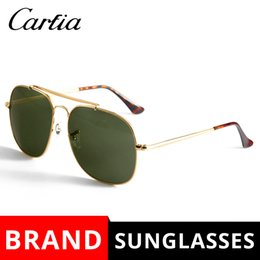 Wholesale Big Size Sunglasses - New 3561 Soscar Sunglasses for Men Brand Designer Sunglasses The General Square Sun glasses Big Size 57mm Metal Frame Glass Lenses with Box