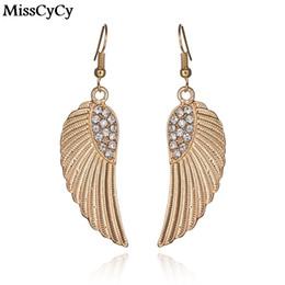 Wholesale Fashion Earrings India - MissCyCy Fashion Gold Color Earrings For Women Pending Rhinestone Alloy Wings Drop Earrings Female Brincos From India