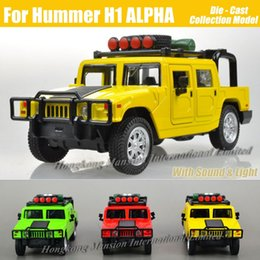 cars model lighting Promo Codes - 1:32 Scale Alloy Metal Diecast Car Model For Hummer H1 ALPHA Collection Model Pull Back Toys Car With Sound&Light
