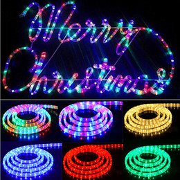 Wholesale Waterproof Outdoor Rope Lights - 2016 New 100M roll High Voltage 220V 2wire round rope Strip light Dia 13mm 36Leds M IP65 waterproof outdoor led christmas lights