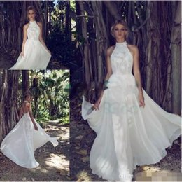 Wholesale Flowy Floor Length Dress - 2017 Limor Rosen beautiful embroidered lace delicate beaded sheer tulle Halter neck with flowy chiffon skirt lace lining beach bridal gowns