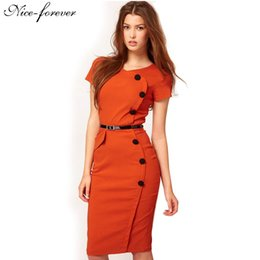 Wholesale Short Slim Fit Dresses - Womens Vintage dress women summer OL style button short sleeve slim Fitted business pencil work dress