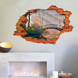 Lago murale online-Vivid 3D Landscape Painting Window Visualizza Wall Sticker Bridge Tree Lake Living Room Decalcomanie per coppia New House Mural