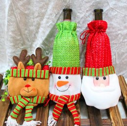 Wholesale Champagne Christmas Tree - Red Wine Bottle Set Cover Gift Bag Non-woven Material Xmas Dinner Party Table Decoration Champagne Bottle Bag C C08