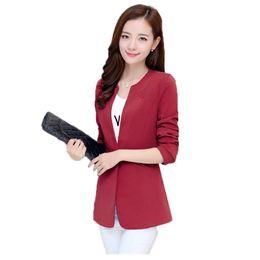 Wholesale Small Korean Jacket Coat - S-5XL 2017 Korean Version Women's Blazer Jacket Lady Small Suit Leisure Coat Slim Elegant Solid Office Women Clothing A1159