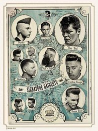 Wholesale Shop Tattoos - Vintage Tattoos Patterned Posters Kraft paper Interior Painting Wall Sticker restoring Wall Sticker Barber shop Home Decoration 30X42 CM A22