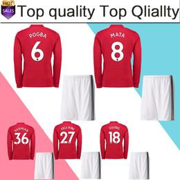 Wholesale Martial Uniforms - POGBA Long Sleeve Soccer Jersey suit 17 18 LUKAKU home red soccer shirt kit 2018 RASHFORD Football uniforms MARTIAL BLIND shirt+shorts