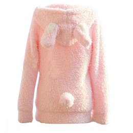 Wholesale Winter White Plush Coat - Wholesale-2016 Korean Winter Cute Rabbit Ear Hair Plush Casual Coat Button Fleece Coat Cardigan Full Sleeve Sweet Hooded Pink White
