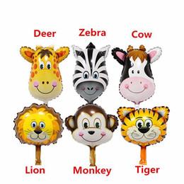 Wholesale Zebra Birthday - 6pcs lot Lion & monkey & zebra & deer Animals Head Foil Balloons cute mini Animal Air Ballons for baby birthday party suppies