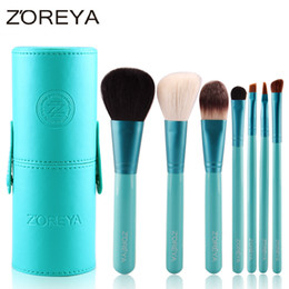 Wholesale Top Quality Makeup Brand Cosmetics - Zoreya Brand 7pcs Makeup Brush Set with Barrel Colorful Cosmetics As Top Quality Makeup Tool Make Up Brushes Set