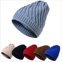 Wholesale Woolen Caps For Men - Thickening Women Warm Woolen Winter Hats Knitted Cap For Men Sooner Solid Skullies & Beanies 6 Color Gorros YYA479