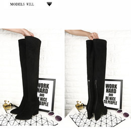 Wholesale Women S Thigh Highs - fashionville*u673 40 black genuine leather stretch heel thigh boots thick heel over the knees sexy s w fashion women autumn vogue brand