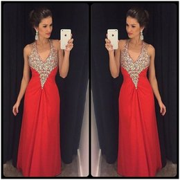Wholesale Hot Pink Feather Dress - Hot Sale Sexy Halter Neck Rhinestone Long Prom Dresses Unique Crystal Pleats Red Chiffon A Line Prom Party Gown