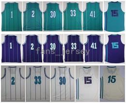 Wholesale El Lighting - Retro hornetz #1 BOGUES #2 JOHNSON #15 WALKER #30 #33 MOURNING #41 RICE Purple White Light Blue Jerseys Short With Player Name
