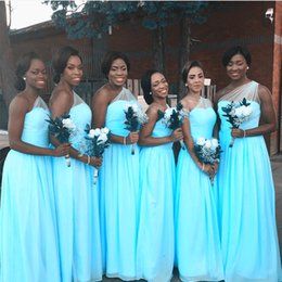 Wholesale One Shoulder Bridesmaid Dresses Tulle - Ice Blue One Shoulder Bridesmaid Dresses Chiffon Tulle Floor Length Nigerian African Bridesmaid Gowns Mint Green Wedding Party Dresses
