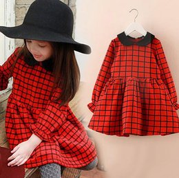 Wholesale Chinese Red Formal Dress - 2016 baby girl sequin dress halloween girls clothing autumn winter dresses Children's babys princess cotton wispy floral long sleeve dress