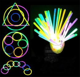 Wholesale Neon Bracelet Fluorescence - 100pcs Multi Color Glow Fluorescence Light Sticks Bracelet Necklaces Light Neon Xmas Party LED Flashing Wand Novelty Toy