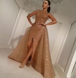 Wholesale Trial Sexy - Evening dress Yousef aljasmi Labourjoisie Gold Ball gown Sequines With Trial Off shoulder gianninaazar Kylie Jenner Zuhair murad