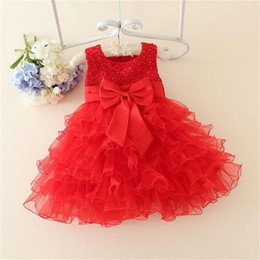 Wholesale Silk Flowers For Clothes - Wholesale- Solid Pearls Flower Bow Newborn Dress Clothes Summer Sleeveless Infant Princess Sweet Dress For Newborn 1 Years Baptism Dresses