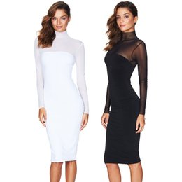 Wholesale Ladies Knee Length - Fashion Women Bandage Dress Ladies' Mesh Dress Lace Long Sleeve Sexy Party Bodycon Women's Turtleneck Clubwear Midi Dress Black