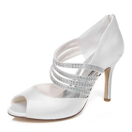 Wholesale Elegant Prom Heels - New 10 cm Ivory Color Elegant Nice Rhinestone Sandal Bridal Shoes Wedding Dress Shoes Handmade Shoes Evening Shoes Prom Party Shoes Size 42