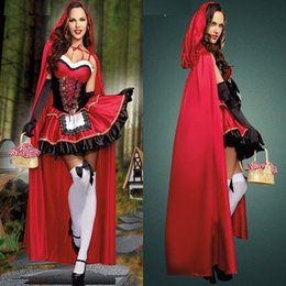 Wholesale Sexy Costume Cartoon - 2018 Halloween Costume Little Red Riding Hood Cosplay Long Poncho Dress Sexy Cartoon Cos Dress For Woman 3 PCS Set