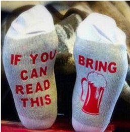 Wholesale Cotton Coffee Sock - Unisex Cotton Crew Funny Socks IF You Can Read This Please Bring Me Some Wine Coffee Words Print