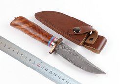 """Wholesale Knife Hand Made - New 9"""" Pure hand made Damascus Steel blade Natural Rosewood Handle hunting Knife knives with leather Sheath"""