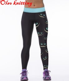 Wholesale Wholesale Jogger Pants Women - Wholesale-Sexy women 3D printer Cheshire cat Smiling face personality sports leggings fitness pants casual pencil leggings jogging joggers