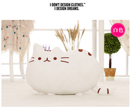 Wholesale Animal Tail Mouse - 2016 new stuffed plush toy pusheen cat girl kids Birthday gift Cute cat Pillow animal doll 40x30cm Big tail cat toy white 5 colours