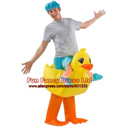 Wholesale Inflatable Yellow Duck - Wholesale-2016 Fancy Costumes for Purim Halloween Lovely Yellow Duck Inflatable Costume Suit for Adults Cosplay Dance Party Club Bar
