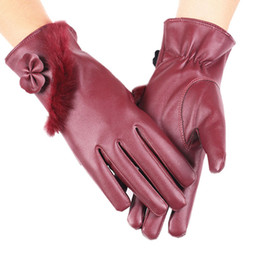 Wholesale Thermal Fingers Gloves Female - Lady Natural PU Gloves Women Bownote Plus Rabbit Fur Thickening Winter Thermal Cotton Gloves Female Screen Touch Thick Warmer Driving Gloves