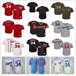 Wholesale Cheap Army Jersey - Washington Nationals #34 Bryce Harper White Navy Blue Gray Red Fashion Stars Stripes Majestic MLB Baseball Jerseys Cheap Free shipping