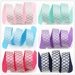 "Wholesale Wholesale Webbing Rolls - ribbon 22mm 7 8"" glitter fish scales printed grosgrain ribbon webbing 50yards roll for hair tie free shipping"