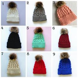 Wholesale Knitted Christmas Hats For Baby - Newborn Baby Girls Winter Warm Hat Fur Ball Pom Pom Cap Kids Winter Knitted Wool Hats Caps For Kids 6-24 Months YYA588