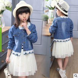 Wholesale Tutus Denim Jacket - Kids White Blue Dress 2016 Spring and Summer New High Quality Girls lace Fashion Blue Denim Jacket Tide ly013