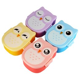 Wholesale Cartoon Plastic Lunch Box - Cartoon Owl Plastic Lunch box Bento Lunch Box Food Fruit Storage Container Microwave Cutlery Set Children Gift 4 Colors