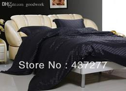 Wholesale Silk Quilt Comforter Black - Wholesale-men luxury black plaid bedroom bedding set textile silk&cotton fabric full queen bed duvet quilt cover bed sheet comforter
